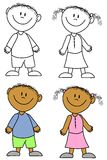 Simple Smiling Kids 2. An illustration featuring a selection of children - african american boy and girl - in black and white and coloured versions Stock Photos