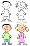 Simple Smiling Kids. An illustration featuring a selection of children - boy and girl - in black and white and coloured versions Stock Photos