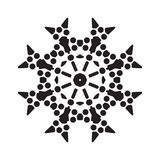 Simple Snowflake Icon Isolated on White Background. Simple snowflake icon with dots and round elements isolated on white background. Snow flake element for vector illustration