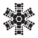 Simple Snowflake Icon Isolated on White Background. Simple snowflake icon with dots and round elements isolated on white background. Snow flake element for royalty free illustration