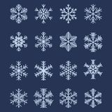 Simple Snowflake Shapes (Set #1). Set of 16 Different Snowflakes For Design royalty free illustration