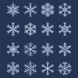 Simple Snowflake Shapes (Set #2). Set of 16 Different Snowflakes For Design vector illustration