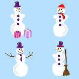 Simple snowman. A set of four snowmen with different accessories drawn in simple manner Stock Photos