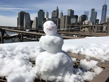 Simple snowman smiling stock photo