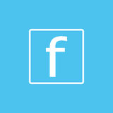 Simple social icon. Universal social icon to use for web and mobile UI. White social icon on blue background. Grammar vector  Royalty Free Stock Photo