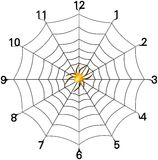 Simple spider web clock face with golden spider. In center royalty free stock photos