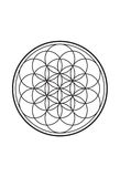 Simple Spiritual Flower of Life Black and White Illustration 1.  Stock Image