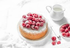 Simple sponge cake with powdered sugar and fresh raspberries on a light background. Summer berry dessert. Royalty Free Stock Photography