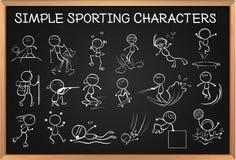 Simple sporting characters on blackboard Stock Image