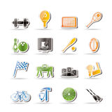 Simple Sports gear and tools icons. Icon set Royalty Free Stock Photos
