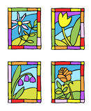 Simple spring flowers. Styled stained glass. Royalty Free Stock Photo