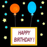 Simple square celebration card with hot air balloons and inscription happy birthday!. Simple square celebration card with hot air balloons, stars and inscription Royalty Free Stock Photography