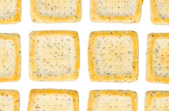 Simple square crackers isolated Royalty Free Stock Photos