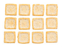 Simple square crackers isolated Royalty Free Stock Photography