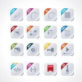 Simple square file labels icon set. Set of the icons representing different file types (square version Stock Images
