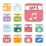 Simple square file types formats labels icon set presentation document symbol and audio extension graphic multimedia Royalty Free Stock Images