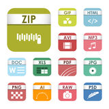 Simple square file types formats labels icon set presentation document symbol and audio extension graphic multimedia Stock Photography