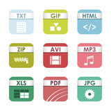 Simple square file types formats labels icon set presentation document symbol and audio extension graphic multimedia Royalty Free Stock Photography