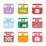Simple square file types formats labels icon set presentation document symbol and audio extension graphic multimedia Stock Images