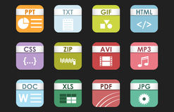 Simple square file types formats labels icon set presentation document symbol and audio extension graphic multimedia. Sign vector illustration. Application Stock Photos