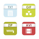 Simple square file types formats labels icon set presentation document symbol and audio extension graphic multimedia Royalty Free Stock Image