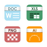 Simple square file types formats labels icon set presentation document symbol and audio extension graphic multimedia. Sign vector illustration. Application Stock Images