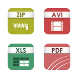 Simple square file types formats labels icon set presentation document symbol and audio extension graphic multimedia. Sign vector illustration. Application Stock Photography