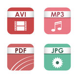 Simple square file types formats labels icon set presentation document symbol and audio extension graphic multimedia Royalty Free Stock Photos
