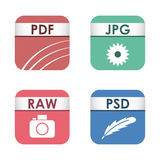 Simple square file types formats labels icon set presentation document symbol and audio extension graphic multimedia Stock Image