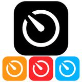 Simple, square timer/stopwatch icon. Four color variations. Isolated on white royalty free illustration