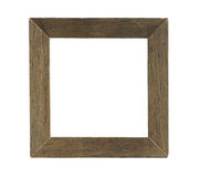 Simple Square Wooden Photo Frame isolated on white background Stock Photo