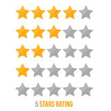 Simple star rating. With shadows makes the stars pop out from background and gray stars. Stock Photos