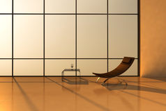 Simple stark modern interior. A simple stark modern interior with a chair and table Stock Images