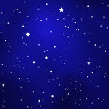 Simple Starry Royal Blue Sky with Bright Simple Stars Stock Image