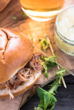 Simple steet food, pulled pork bap Royalty Free Stock Photos