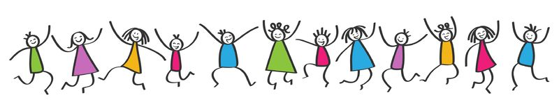 Simple stick figures banner, happy colorful kids jumping, hands in the air. Isolated on white background stock illustration