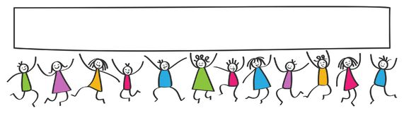 Simple stick figures banner, happy kids jumping, blank white poster board Stock Photos
