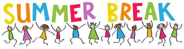 Simple stick figures banner, happy multicultural kids jumping, colorful letters SUMMER BREAK vector illustration