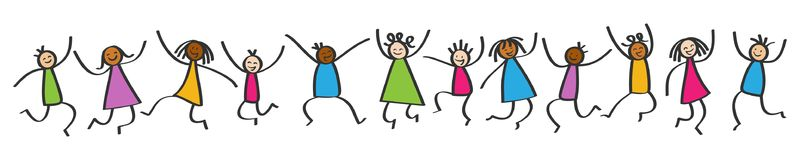 Simple stick figures banner, happy multicultural kids jumping, hands in the air. Isolated on white background vector illustration