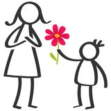 Simple stick figures family, boy giving flower to mother on Mother`s Day, birthday isolated on white background. Simple stick figures family, boy giving flower Royalty Free Stock Photos
