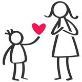 Simple stick figures family, boy giving love, heart to mother on Mother`s Day, birthday. Isolated on white background vector illustration