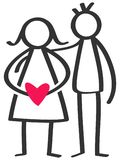 Simple stick figures happy couple, man, pregnant woman with red heart. Isolated on white background Stock Photos