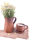 Simple still life with ceramic jug and cup Stock Photos