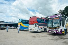 A simple stop and rest for buses and passengers stock photography