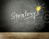 Simple Strategy Concept on Black Chalkboard Stock Photo