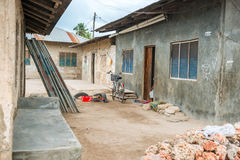 Simple street in african village Stock Photos