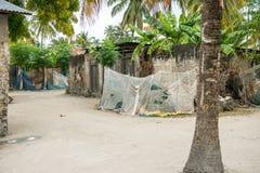 Simple street in african village. Zanzibar, Africa Royalty Free Stock Photography