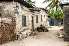 Simple street in african village. Zanzibar, Africa Royalty Free Stock Images