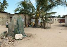 Simple street in african village. ZANZIBAR, TANZANIYA- JULY 13: simple street in african village on July 13, 2016 in Zanzibar, Tanzania Royalty Free Stock Photos