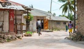 Simple street in african village. ZANZIBAR, TANZANIYA- JULY 15: simple street in african village on July 15, 2016 in Zanzibar, Tanzania Stock Images